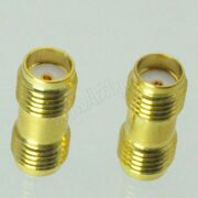 1pc Gold Tone connector SMA female to female jack in series RF coaxial adapter Alloy