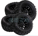 HSP Rubber Tyre Wheel For 1/10 Monster Bigfoot Truck - 2 Pair